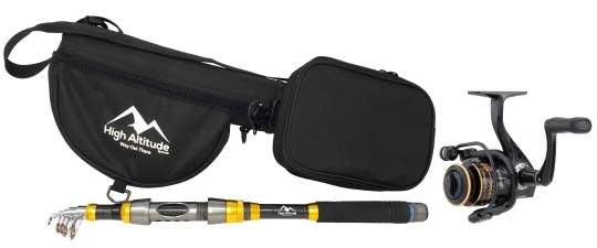 Telescopic Fishing Rod, Case, and Reel